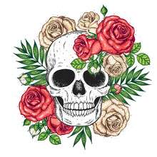 Skull And Flowers Hand Drawn I...