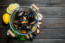 Fresh Seafood Clams With Lemon Wedges, Garlic And Parsley.