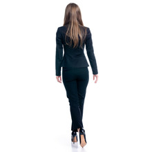 Business Woman Walking Goes On White Background Isolation, Back View