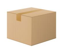 Realistic Cardboard Box, Close...