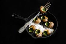 Escargots Farcis Cuits Sur Fond Noir