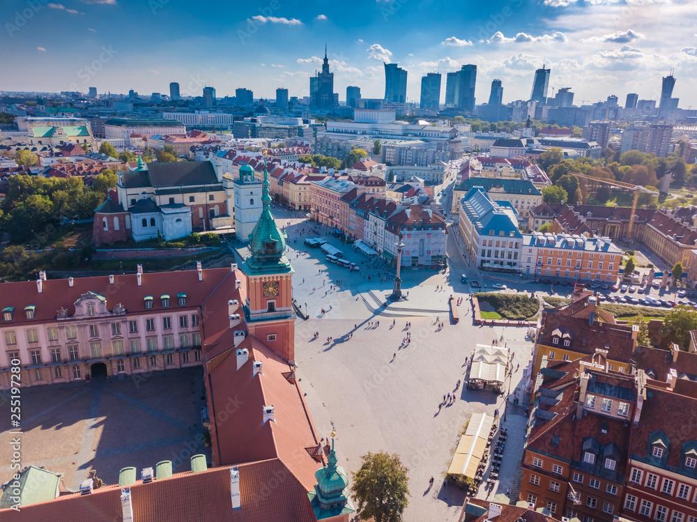 Fototapety, obrazy: Aerial view of the old city in Warsaw. Beautiful European City. HDR - high dynamic range.