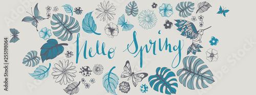 Wiosna ilustracje banner