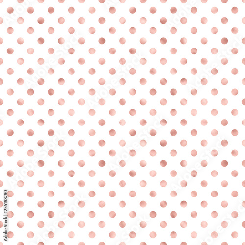 Rose Gold Polka Dot Pattern Whimsical Rose Gold Design