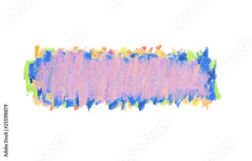 Oil pastel stroke on white background.