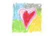 Oil pastel heart color stroke texture on white background. Isolated.