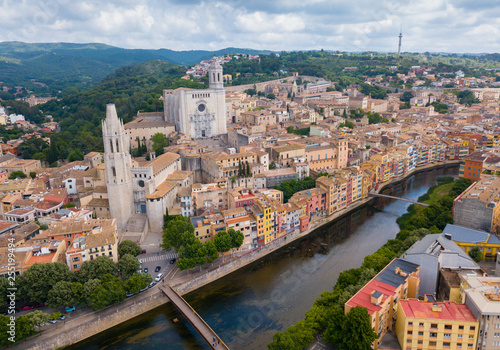 View from drone of Girona