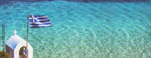 Fototapeta premium Pejzaż morski greckiej flagi narodowej