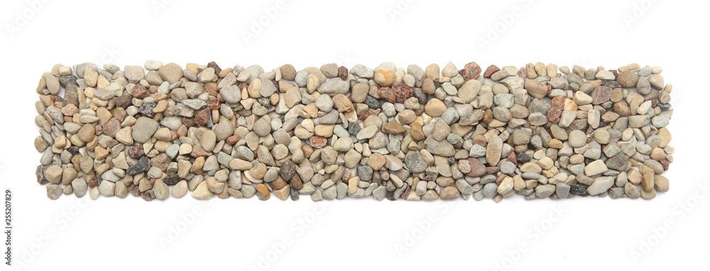 Fototapety, obrazy: Ground stones frame isolated on white background. Rectangle shaped pebble stones.