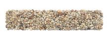 Ground Stones Frame Isolated On White Background. Rectangle Shaped Pebble Stones.