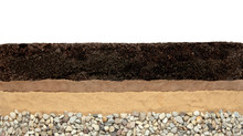 Soil Layers: Humus, Clay, Sand And Stones Isolated On White Background. Cross Section Soil Layers.