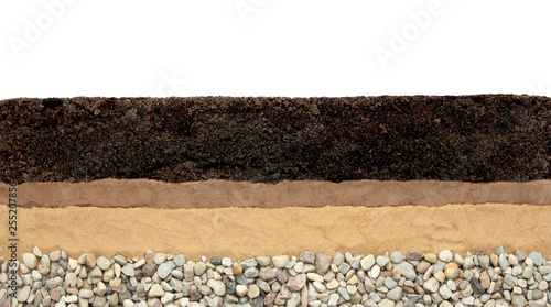 Cuadros en Lienzo Soil layers: humus, clay, sand and stones isolated on white background