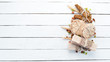 Oatmeal bars, muesli, flax, healthy snacks. On a white wooden background. Top view. Free space for your text.