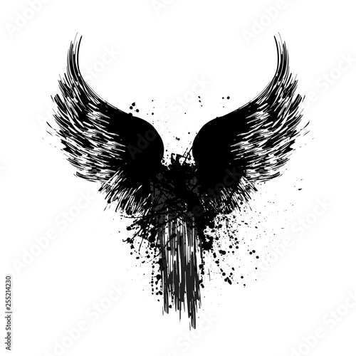 Foto  Grunge wings silhouette
