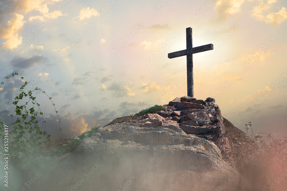 Fototapety, obrazy: stairs to the cross of Jesus Christ 3d render