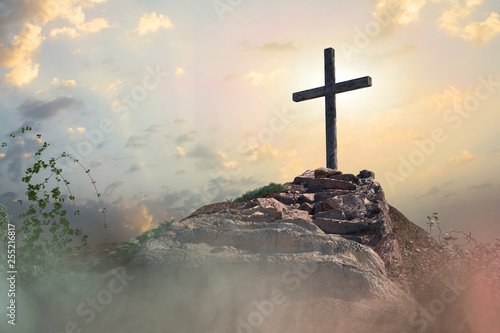 Fotografie, Tablou stairs to the cross of Jesus Christ 3d render