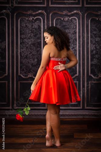Beautiful,  Biracial High School Senior wearing red prom dress Canvas Print