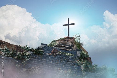 Valokuva stairs to the cross of Jesus Christ 3d render