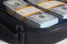 Open Briefcase With Hundred Dollars Bills Stacks