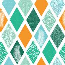 Contemporary Rhombus Shapes Collage Seamless Vector Pattern. Modern Abstract Tropical Summer Background Geometric Textured Shapes. Blue Green Teal Orange Shapes With Tropical Palm Leaf, Animal Skin