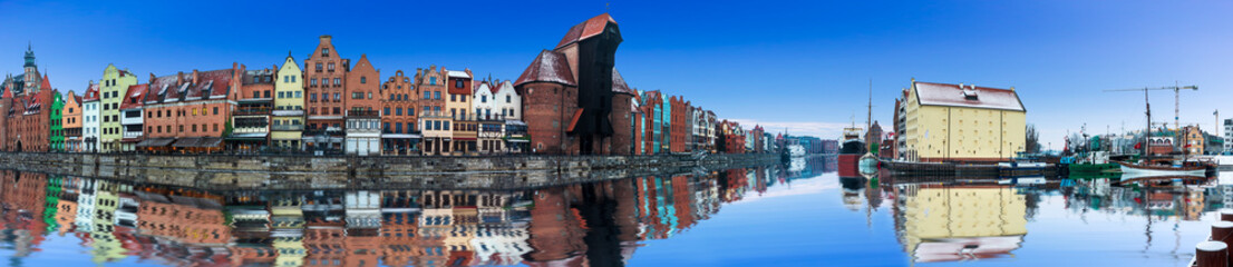 Full panorama of Gdansk, buildings by the Motlawa