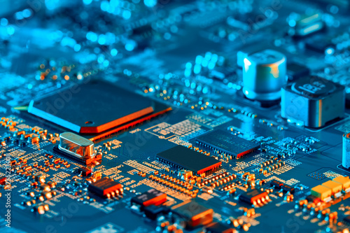 Pinturas sobre lienzo  Electronic circuit board close up.