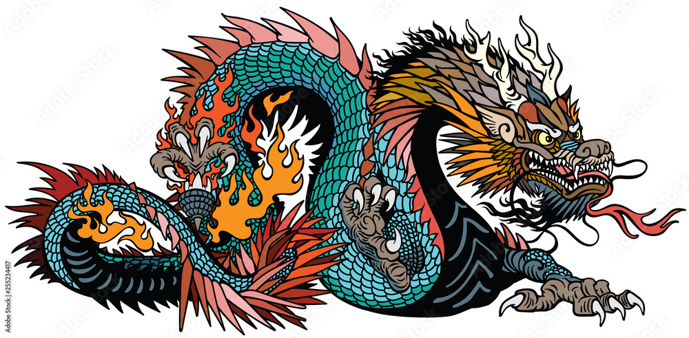 Fototapeta azure also blue green Chinese dragon. Asian and Eastern mythological creature. Isolated tattoo style vector illustration
