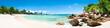 Sommer, Sonne, Strand und Meer auf den Seychellen als Panorama Hintergrund