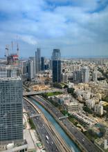 Ayalon Highway And Railways Over Skyscrapers Of Tel Aviv, Israel.