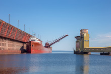 Great Lakes Freighter At Ore Dock