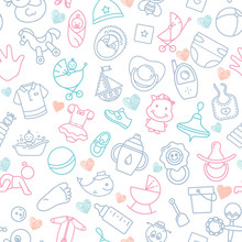 Colorful Of Seamless Pattern Of Children Toys And Various Children Elements In Pink.
