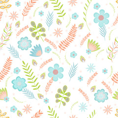 Summer floral seamless pattern. Flowers and branches in pastel colors. Vector illustration