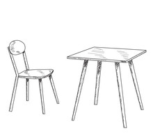Isolated, Sketch, Line Table And Chair