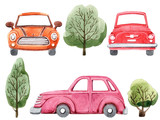 Watercolor set of cartoon car and trees. Hand drawn illustration. Isolated on white background. Funny cartoon image. Travel conception.