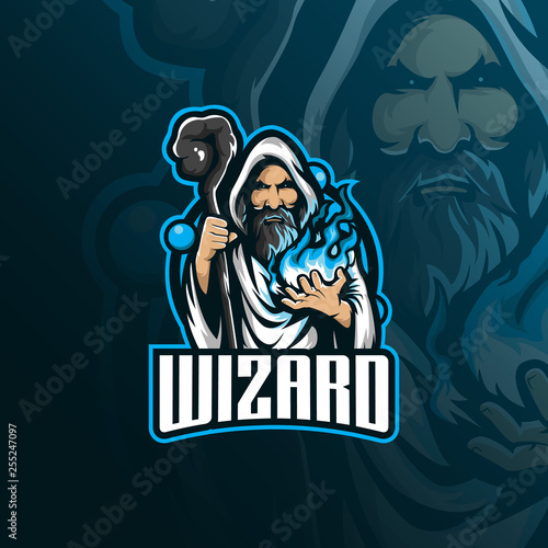 wizard vector mascot logo design with modern illustration concept style for badge, emblem and tshirt printing Wallpaper Mural
