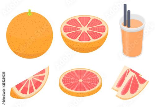 Fotografia  Grapefruit icons set