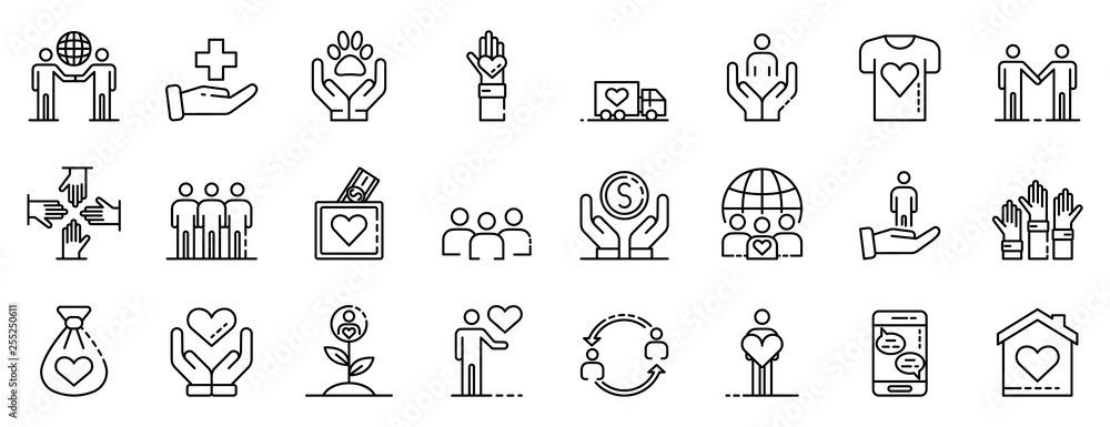 Fototapety, obrazy: Volunteering icons set. Outline set of volunteering vector icons for web design isolated on white background