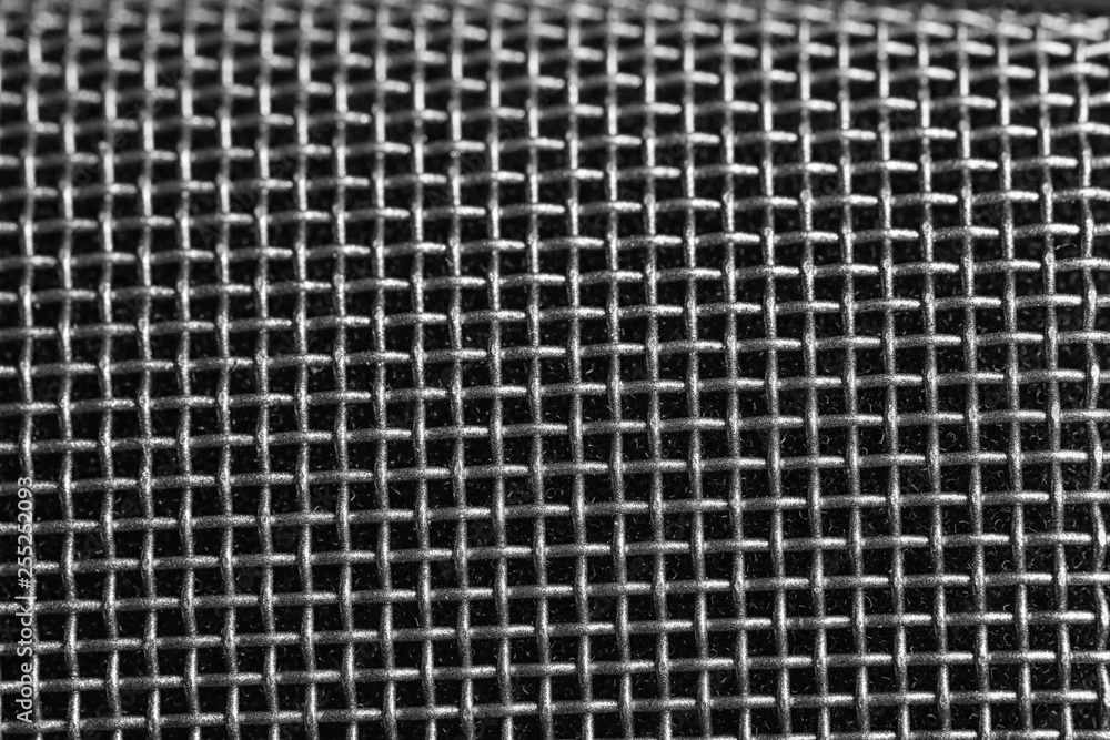 Fototapety, obrazy: Metal mesh of microphone as background, closeup. Musical equipment