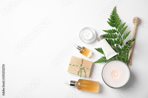 Fotografie, Obraz  Flat lay composition with different body care products and space for text on whi