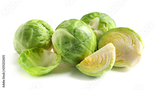 Canvas Prints Brussels Fresh tasty Brussels sprouts on white background