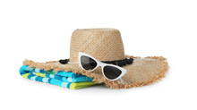 Set Of Different Beach Accessories Isolated On White