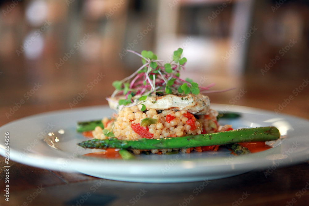 Fototapety, obrazy: Gourmet Cuisine Couscous in restaurant with asparagus
