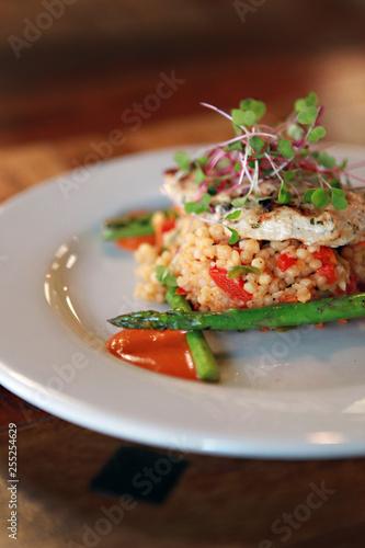 Fotografie, Obraz  Close up Gourmet Cuisine Couscous on plate in restaurant