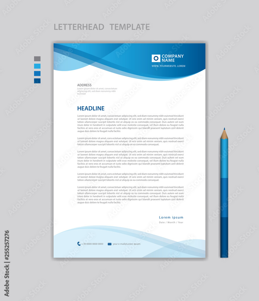 Fototapeta letterhead template vector,  minimalist style, printing design, business template, flyer layout, Blue concept background