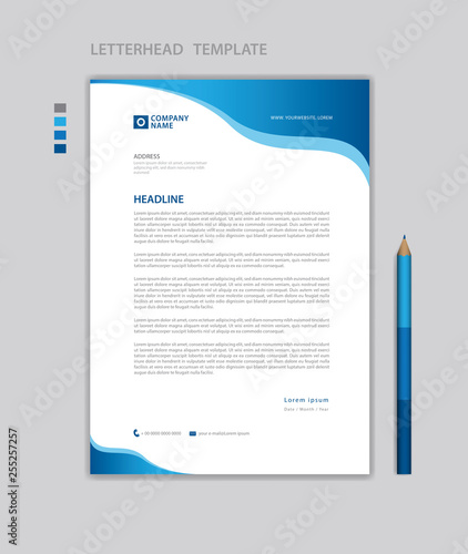 Fototapeta letterhead template vector,  minimalist style, printing design, business template, flyer layout, Blue concept background obraz
