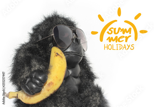 Fotografía  funny monkey and summer holidays symbol