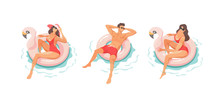 Young People Relaxing In Swimm...
