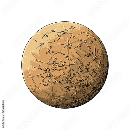 Fotografie, Obraz  Hand drawn sketch of planet mercury in color, isolated on white background