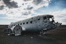 Airplane Wreck From The Right Side. In Iceland At Summer