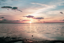 Sunrise In The Tampa Bay Area Florida With A View Of The Bridge